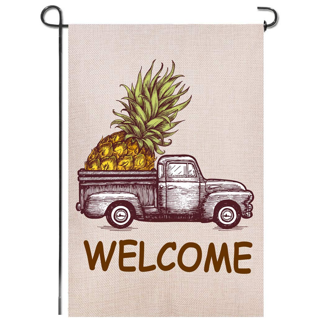 Shmbada Truck Pineapple Summer Welcome Burlap Garden Flag, Premium Material Double Sided, Seasonal Spring Outdoor Decorative Small Flags for Home Yard Lawn Patio, 12 x 18 inch