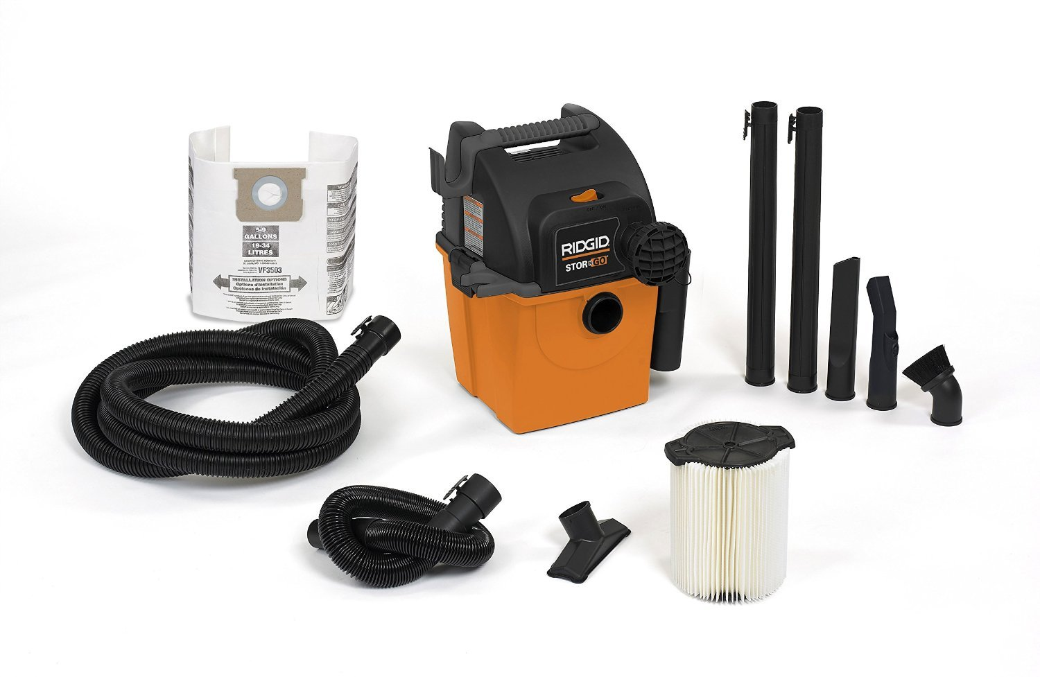 RIDGID Wet Dry Vacs VAC5000 Portable Wall Mount Wet Dry Vacuum Cleaner for Shop or Garage, 5-Gallon, 5.0 Peak Horsepower, Small Shop Vacuum Cleaner for Garage or Home by Ridgid
