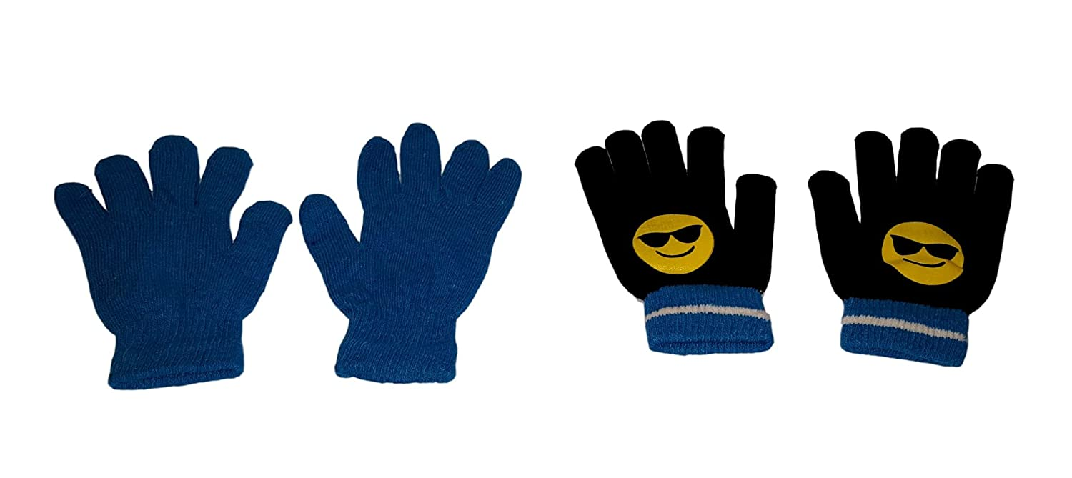 Amazon.com: Children Emoji Gloves -2 Pack (Blue - Black Shades Emoji): Clothing