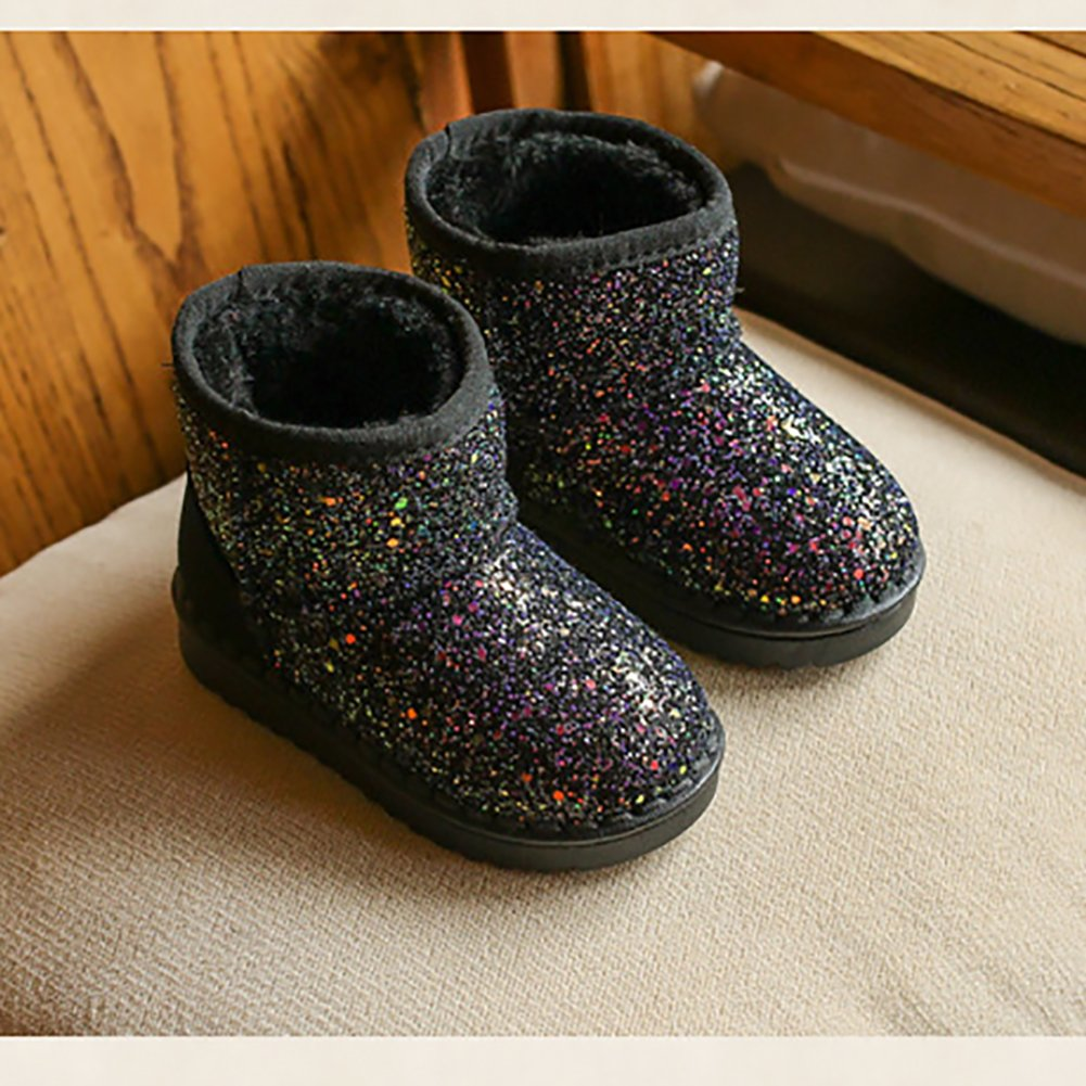 BININBOX Girls Bling Sequins Snow Boots Warm Cotton Shoes Winter Boots (11 M US Little Kid, Black) by BININBOX (Image #2)