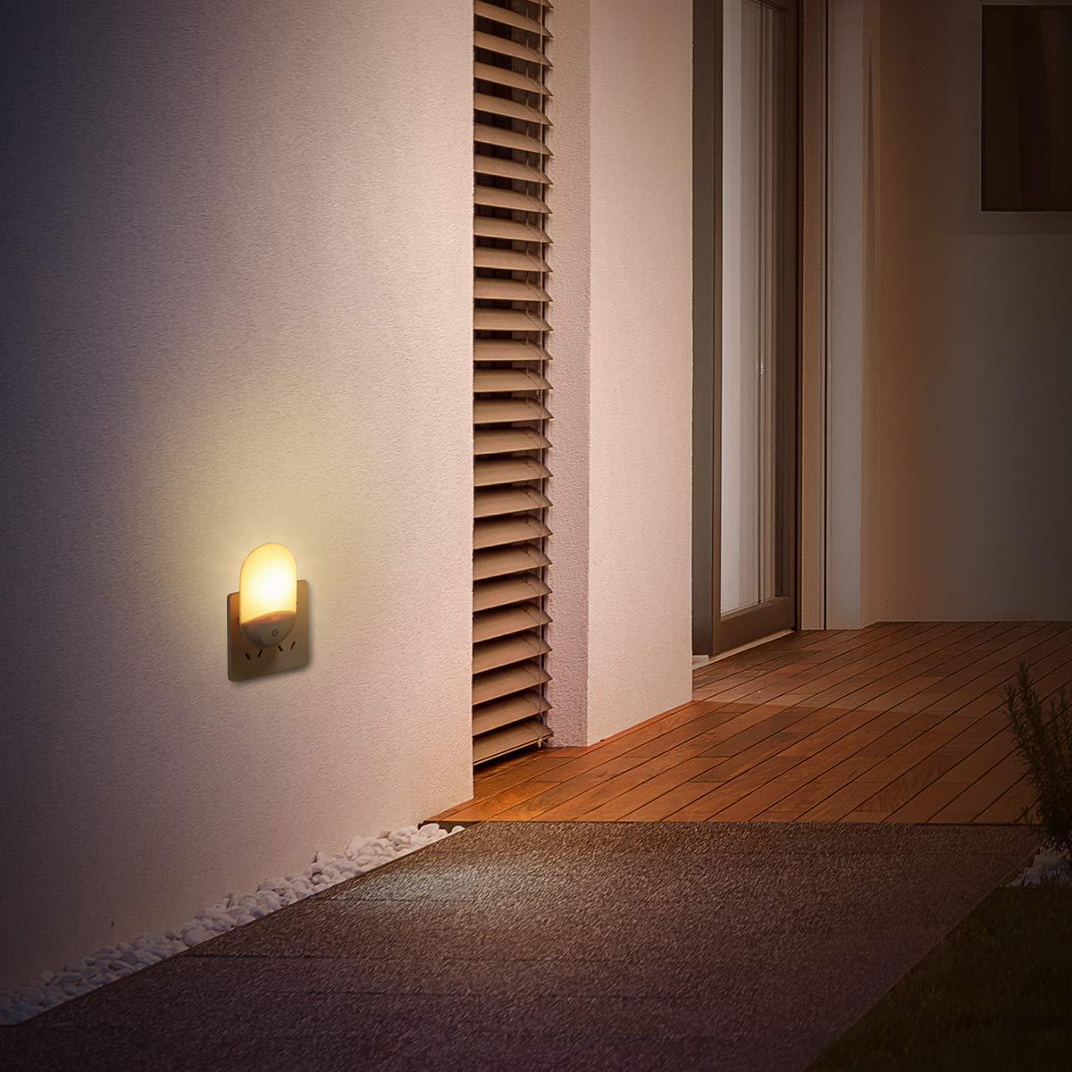 LED Night Light,Elfeland Plug in Night Light Warm White 4000K-4500K 220V 0.5W 15lm Dusk to Dawn Optical Sensor Light UK Standard Plug Porch Light Ideal for Corridor Balcony Outdoor Lighting 1 Pack