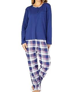 Ladies Slenderella Cotton Tartan Pyjamas Plain Jersey Top /& Checked PJ Bottoms