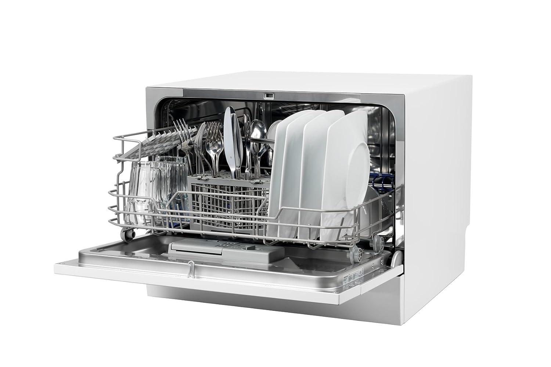 MEDION MD 37227 - Lavavajillas, 6 configuraciones, limpieza y secado A, 6 programas de limpieza, mecánico Aqua Stop, pantalla LED, Blanco