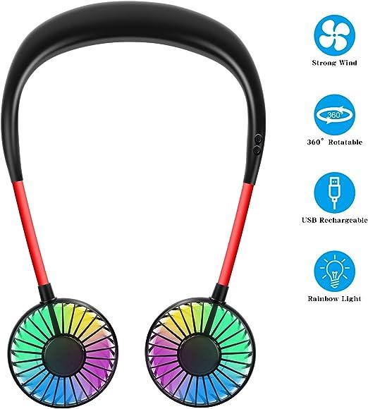 Trabajo Recargable Silencioso USB Mini Ventilador De Cuello Colgante De Aire Acondicionado Port/átil Collar De Sistema De Enfriamiento Personal De 3 Velocidades