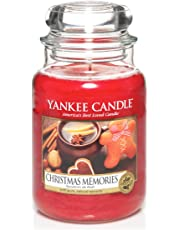 Yankee Candle 1275309E Christmas Memories Candele In Giara Grande, Vetro, Rosso, 10X9.8X17.5 Cm