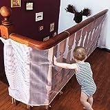 CestMal Red de Seguridad. Malla Red de Seguridad para Balcones Resistente &Impermeable Red de Seguridad Niños Ajustable a Balcón/Escaleras/Patios, 74 cm x 300 cm-Blanco
