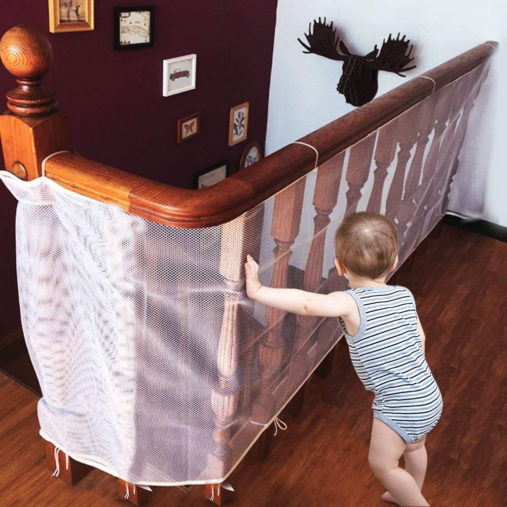 Allnice Children Safety Net Baby Fall Protection Safety Net Durable Weatherproof Adjustable Balcony/Stair Railing Safety Net for Kids Pet Toy Safety, Indoor and Outdoor Stairs Balcony or Patios-White