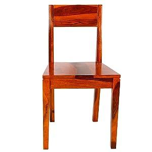 Santosha Decor Solid Sheesham Wood PU Polish Pre-Assemble Comfortable Study Chair/ Home Chair, 87x42x45cm (Natural Teak)