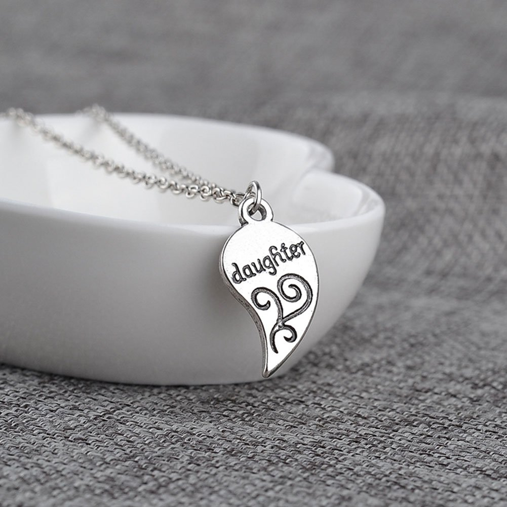 MayLove The Love Between a Mother and Daughter Engraved Pendant Necklace