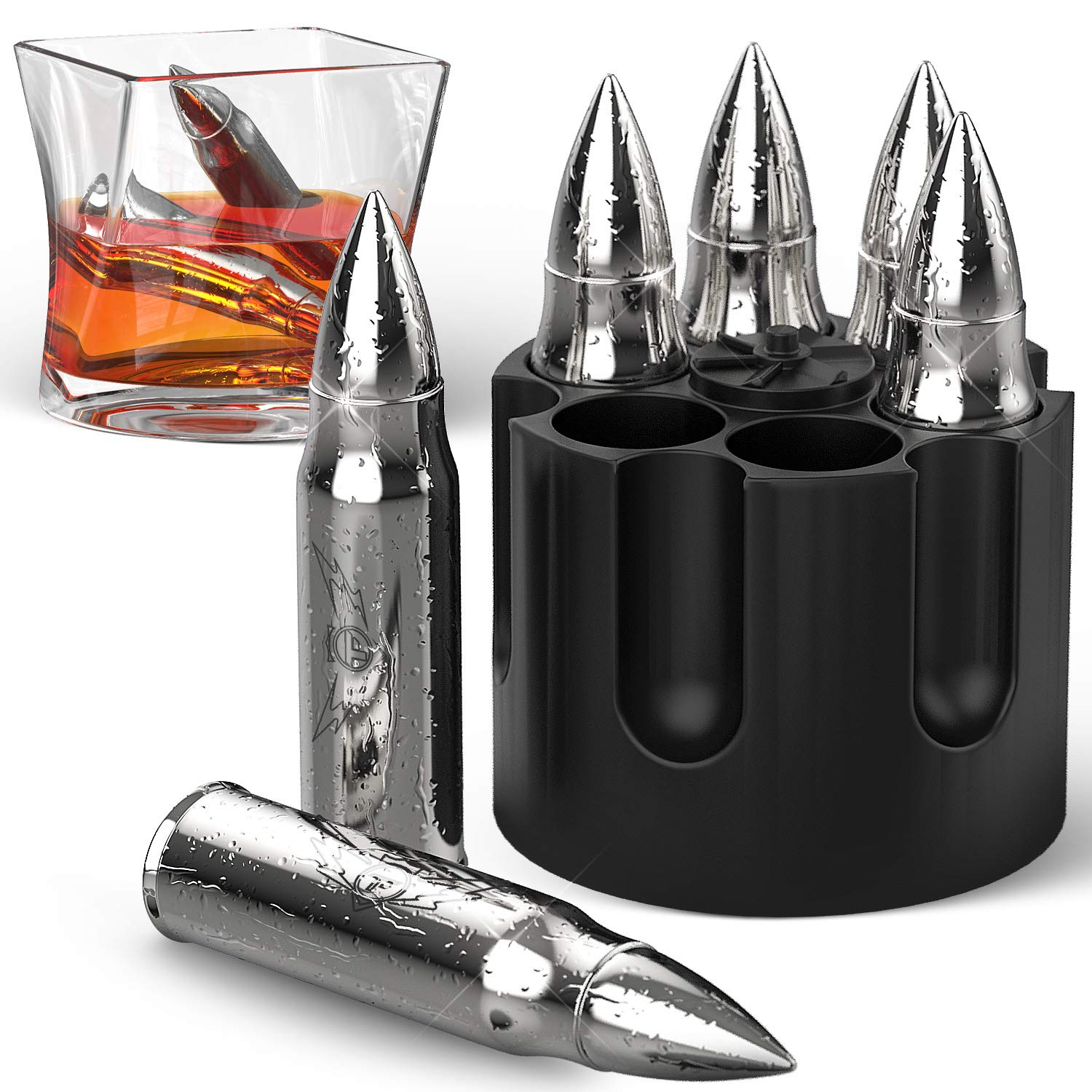 Bullet Shaped Metal Whiskey Stones - 6-Pack Stainless Steel Whiskey Rocks | Metal Ice Cubes to Chill Bourbon, Scotch in Your Whisky Glass - Cool Gifts for Men, Father's Day, Christmas Stocking Stuffer by TF TAKEFLIGHT (Image #1)