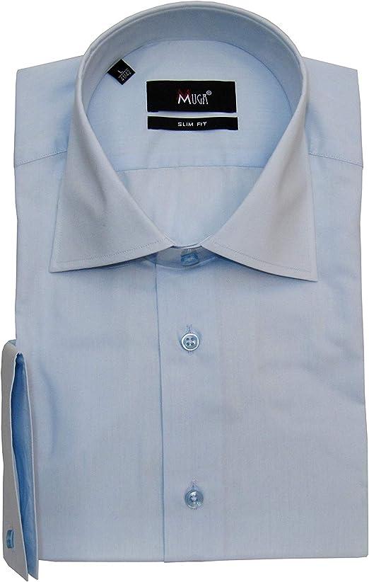 MMUGA - Camisa para hombre con pañuelo azul claro XXL: Amazon.es: Ropa y accesorios