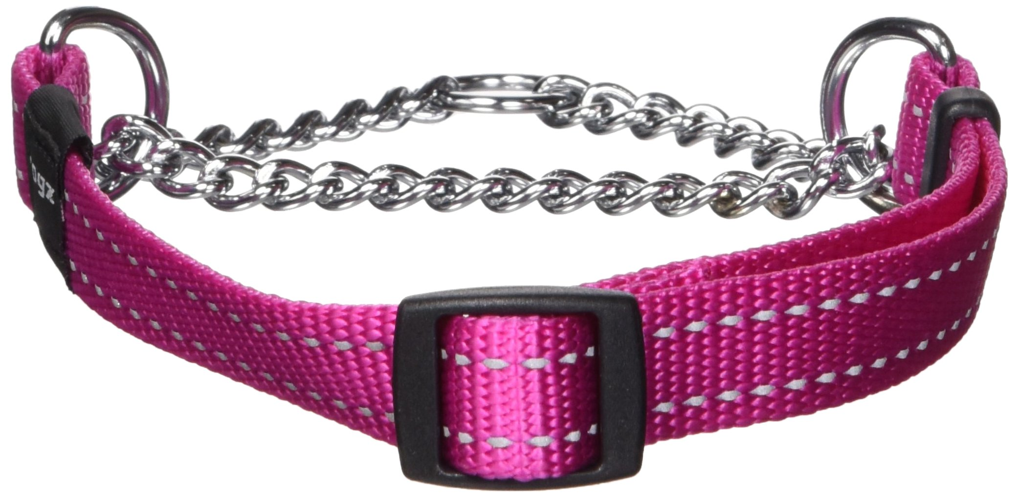 Reflective Nylon Choke Collar; Slip Show Obedience Training Gentle Choker for Medium Dogs, Pink