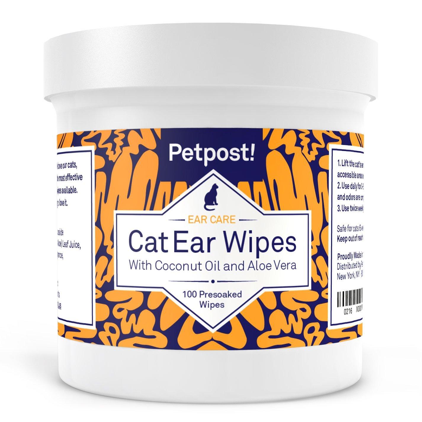Petpost Toallitas Limpiadoras de Oído para Gatos - 100 Almohadillas de Algodón Ultra Suave en Solución de Aceite de Coco - Tratamiento para Garrapatas de ...