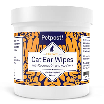 Petpost Toallitas Limpiadoras de Oído para Gatos – 100 Almohadillas de Algodón Ultra Suave en Solución