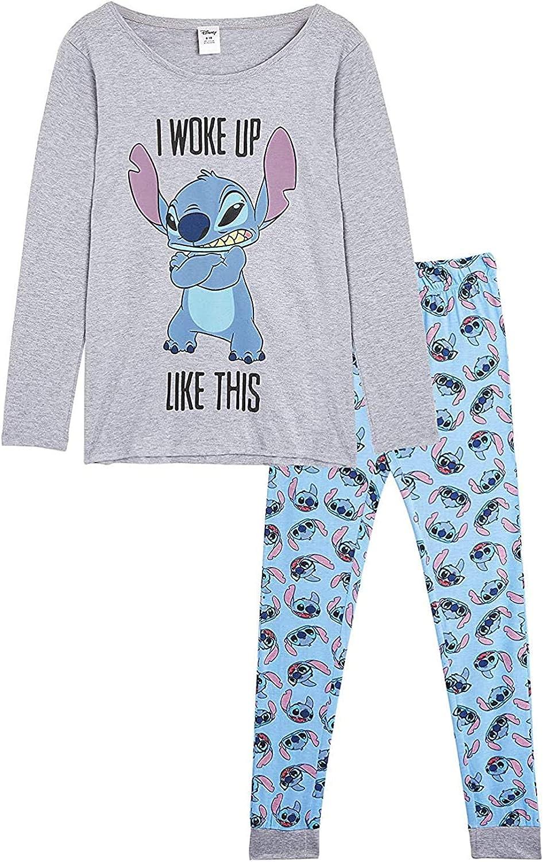 Disney Lilo y Stitch Pijama Mujer Invierno, Pijamas De 2 Piezas Camisetas Mujer Manga Larga Y Pantalón con Personaje Stitch, Ropa De Dormir Algodón Tallas 36-46, Regalos para Chicas