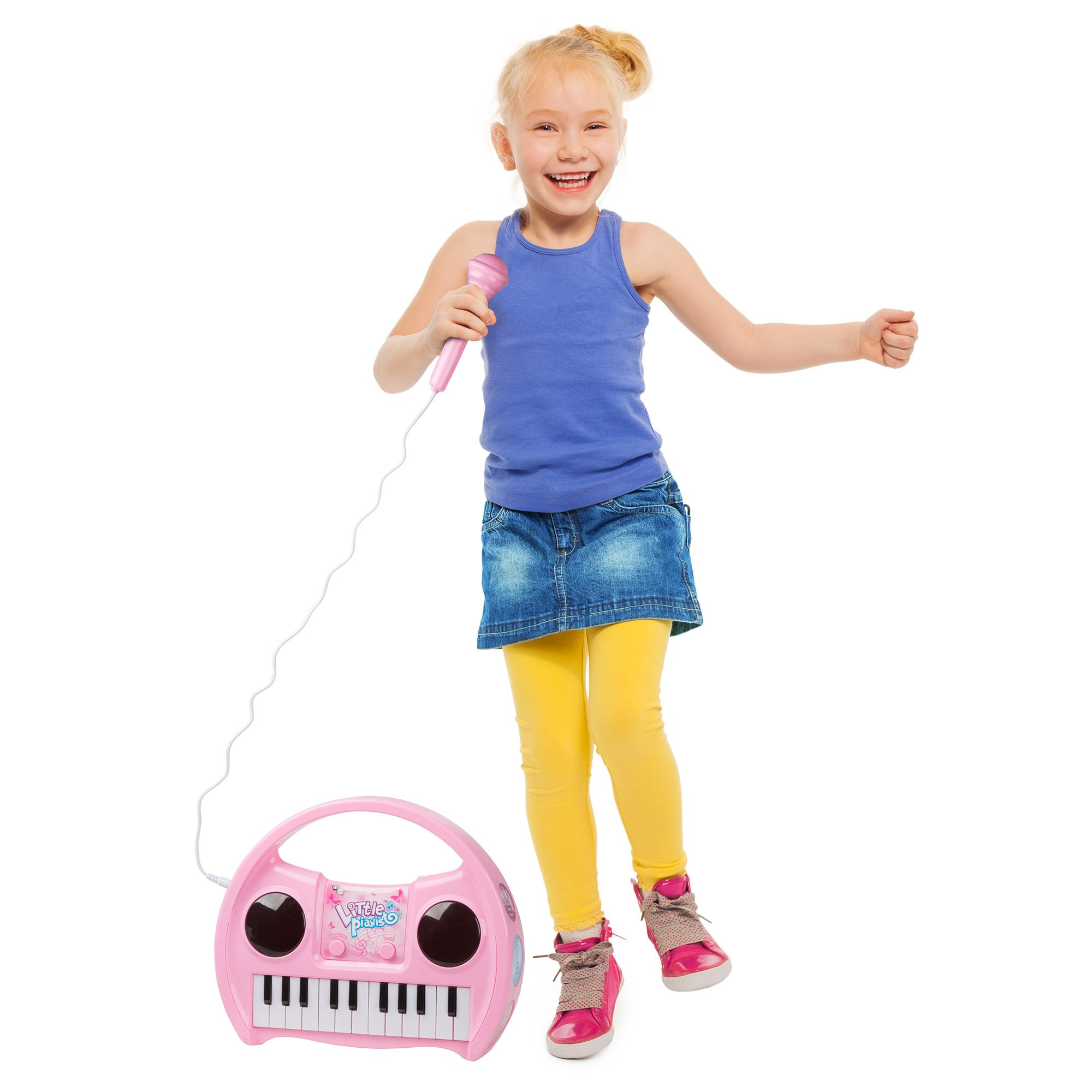 Kids Karaoke Machine with Microphone, Includes Musical Keyboard & Lights - Battery Operated Portable Singing Machine for Boys and Girls by Hey! Play! by Hey!Play! (Image #6)
