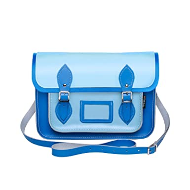 6eb8d38454 Zatchels Womens Ladies Handcrafted Two Tone Leather Satchel Bag (British  Made) (11.5in) (Blue)  Amazon.co.uk  Clothing