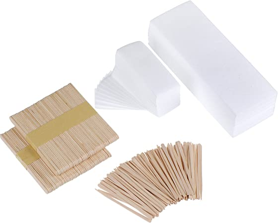 Mudder 200 Pieces Waxing Strip Non-Woven Wax Strip Hair Removal Wax Strips and 200 Pieces Wax Applicator Sticks