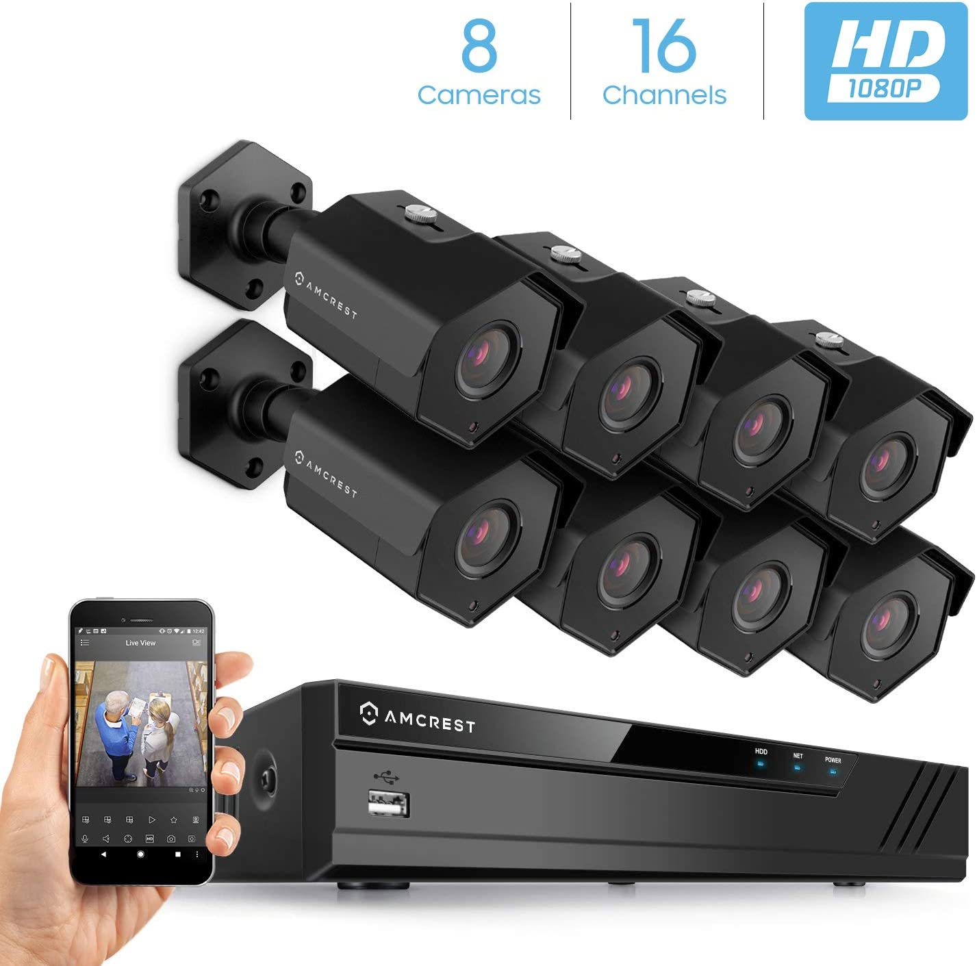 Tonton 1080P 16 Channel Security Camera System,16CH 5-in-1 Hybrid DVR Recorder with 12PCS 2.0Mp Outdoor Bullet Cameras,Easy Remote Access,Smart Motion Detection,Email App Alerts with Snapshot NO HDD