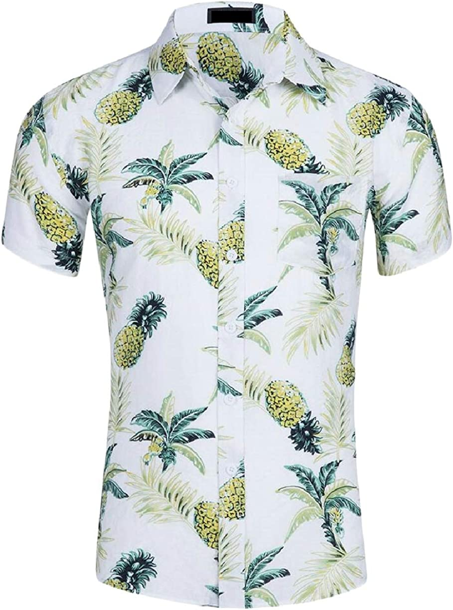 ZXFHZS Mens Short Sleeve Hawaii Printing Beach Button Down Dress Shirts