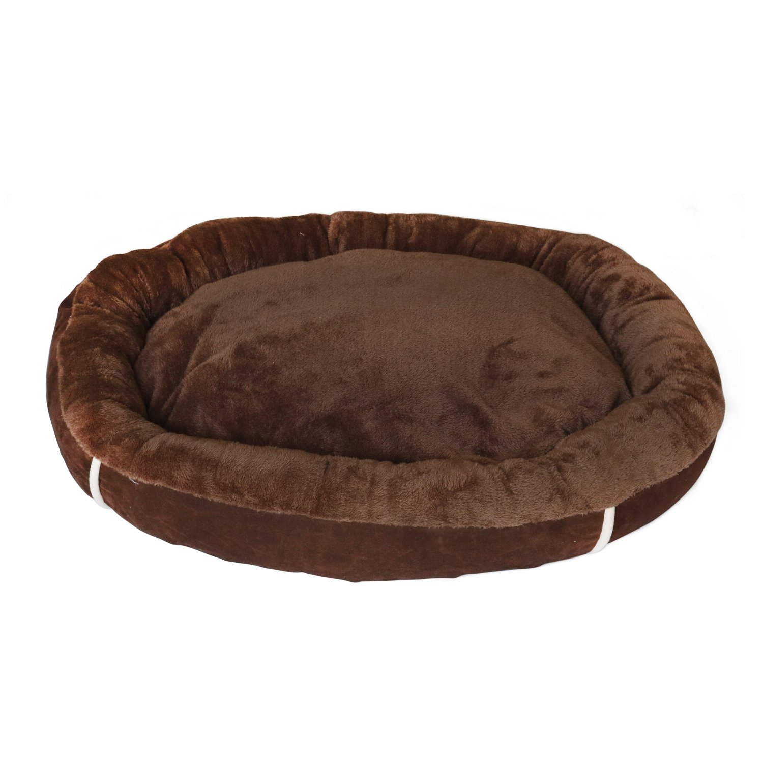HappyCare Textiles 047393528995 Oval Pet Bed with Removable Insert, Brown Coffee, 33 28