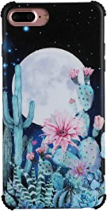 """Zeronal Cactus iPhone 8 Plus / 7 Plus Case with Moon, Slim Design with Full Protection for Women, Bumper Shock Absorption Soft TPU, Compatible with iPhone 8 Plus / 7 Plus 5.5""""- Cactus Desert Night"""
