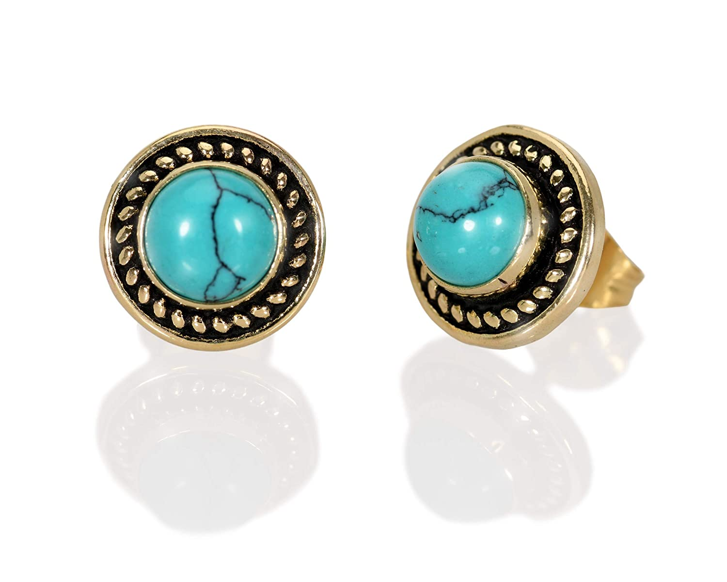 A Handcrafted Pair of Blue Turquoise Pierced Earrings!