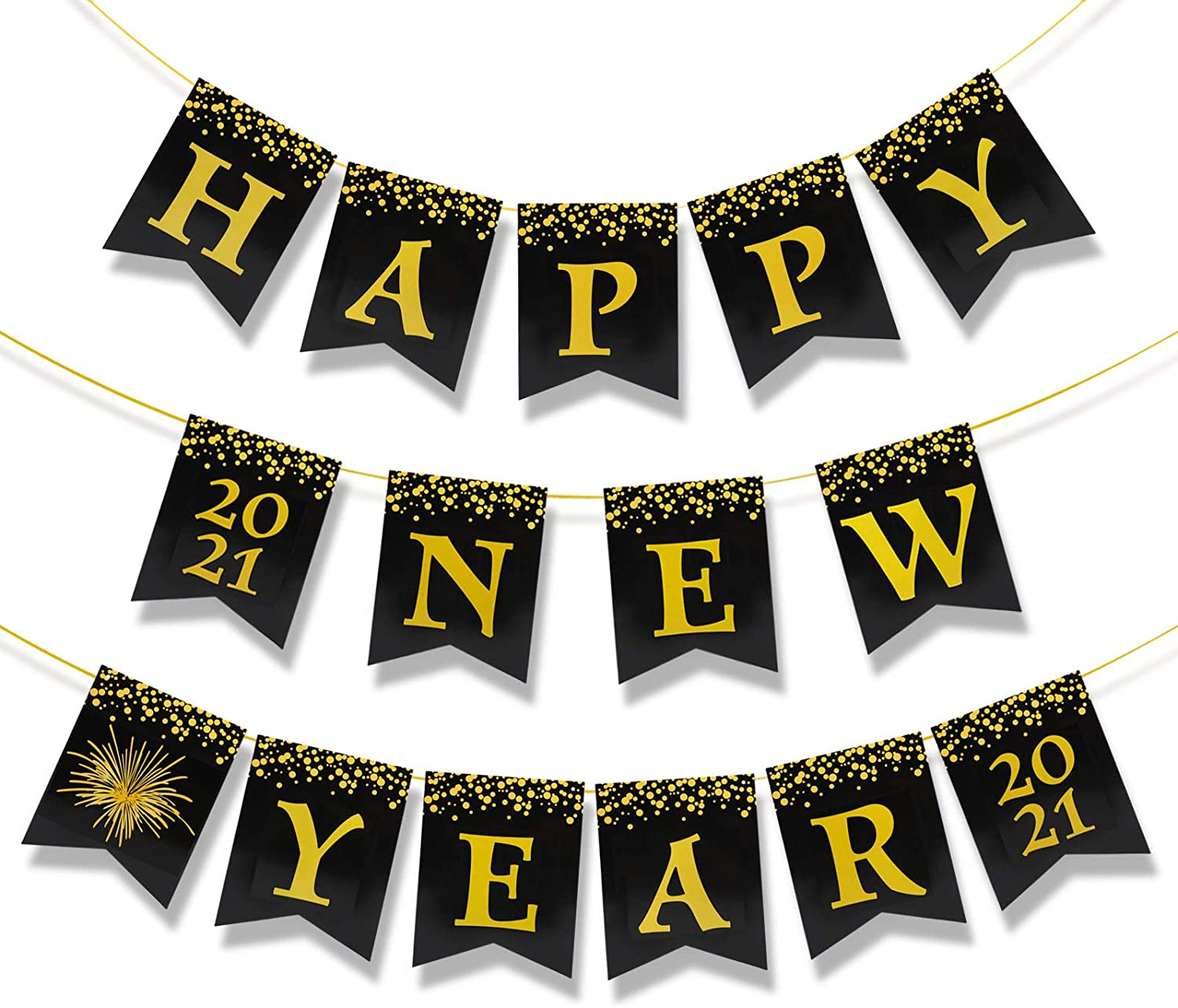 Black and Gold Banner Sign 2021 New Year Eve Party Decorations Supplies HOWAF Happy New Year Banner for 2021 New Year Decoration Shiny Gold Printed New Year Hanging Garland Sign Decor