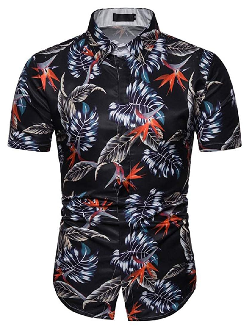 Domple Mens 3D Print Hawaiian Beach Short Sleeve Summer Floral Printed Leaf Button Down Dress Work Shirt