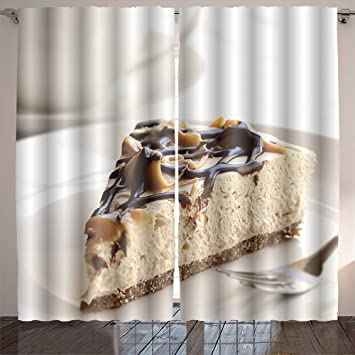Jiahonghome Room Curtain caramel and chocolate cheesecake with a cup of coffee