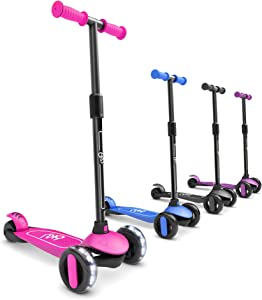 6KU 3 Wheels Kick Scooter for Kids and Toddlers Girls & Boys, Adjustable Height, Learn to Steer with Extra-Wide PU LED Flashing Wheels for Children from 2 to 5 Year-Old.