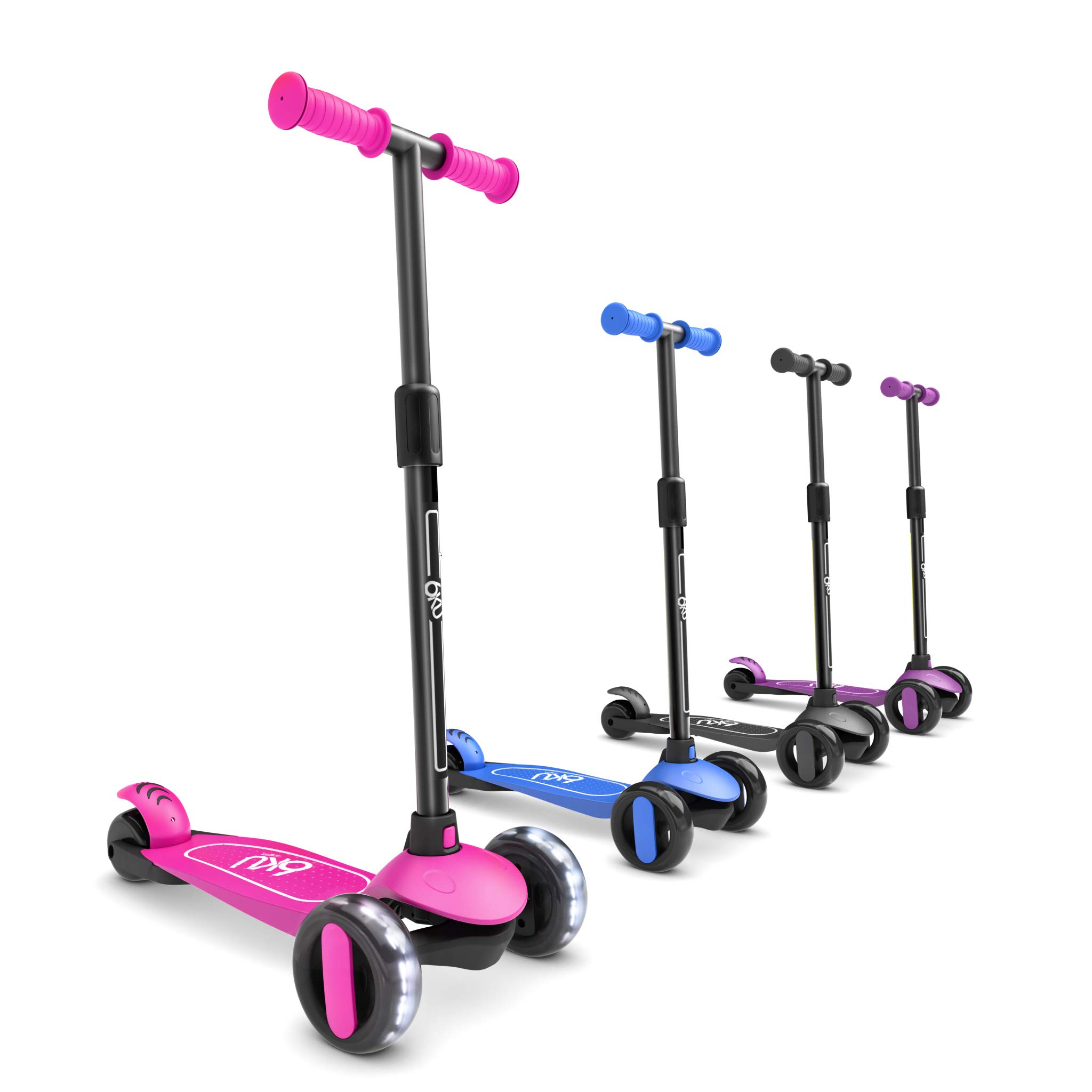 6KU 3 Wheels Kick Scooter for Kids and Toddlers Girls & Boys, Adjustable Height, Learn to Steer with Extra-Wide PU LED Flashing Wheels for Children from 2 to 5 Year-Old. (Pink) by 6KU