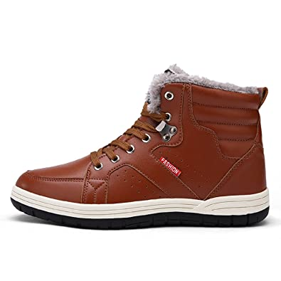 e8ad4c249133 H-Mastery Mens High Top Trainers Casual Sneakers Lace Up Flat Ankle Boots  Waterproof Fur