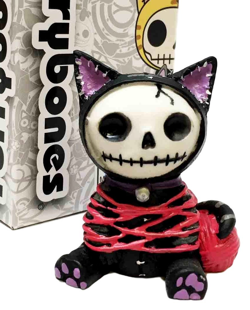 Furrybones Black Voodoo Mao Mao Cat With Wool Skeleton Monster Tabletop Sitting Figurine