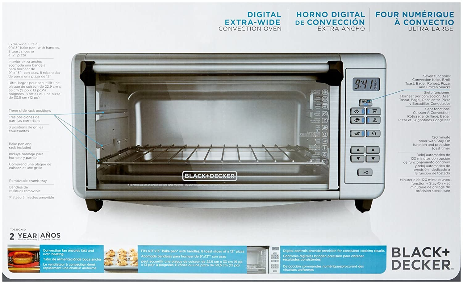 Amazon.com: BLACK+DECKER TO3290XSD Extra-Wide Toaster Oven, Stainless Steel: Kitchen & Dining