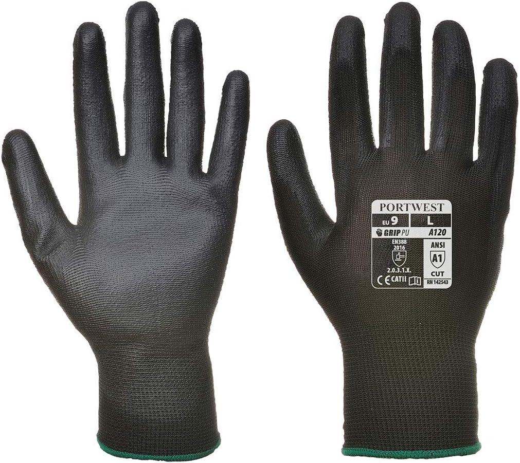 X-Small Portwest Mens Vending 13 Gauge Lined PU Palm Gloves 6 Pair Pack - Black