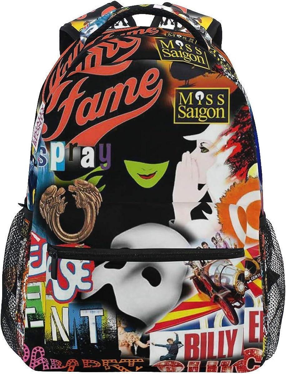 Cropped Broadway Collage Backpack for Kids Boys Girls Laptop Backpack Hiking Bag