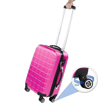 9d3eba513 TecTake Set 3 Piezas Maletas ABS Juego de Maletas de Viaje Trolley Maleta  Dura | 4 Ruedas de 360º | 2 Mangos y un asa telescópica (Rosa | no.
