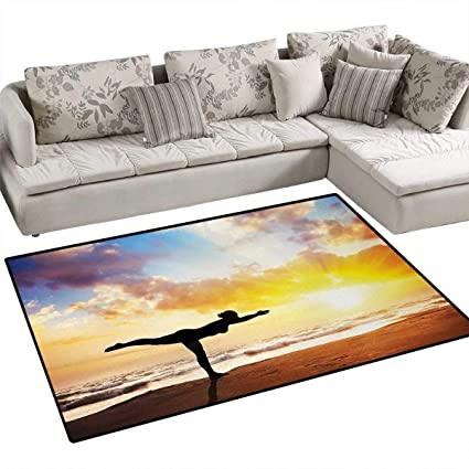 Amazon.com: Yoga, Rug, Warrior Pose by Woman in Silhouette ...