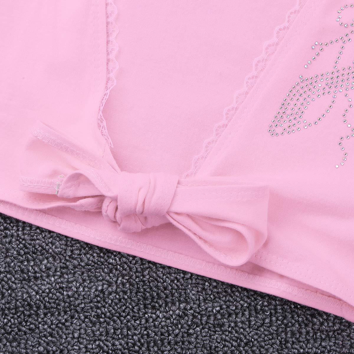 TiaoBug Kids Girls Ballet Cardigan Crossover Dance Wrap Over Clothes Warm-up Long Sleeve Gymnastics Costume