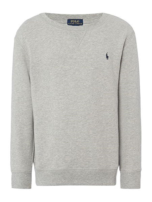 b2e44485b79f Polo Ralph Lauren Children s Boys Crew Neck Cotton-Fleece Sweatshirt - Grey  Top Jumper Sweater D12 (7 Years)  Amazon.co.uk  Clothing