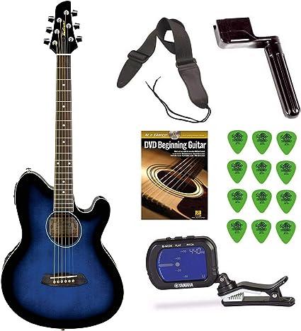 Ibanez TCY10E Talman guitarra acústica/eléctrica (azul) + free DVD ...