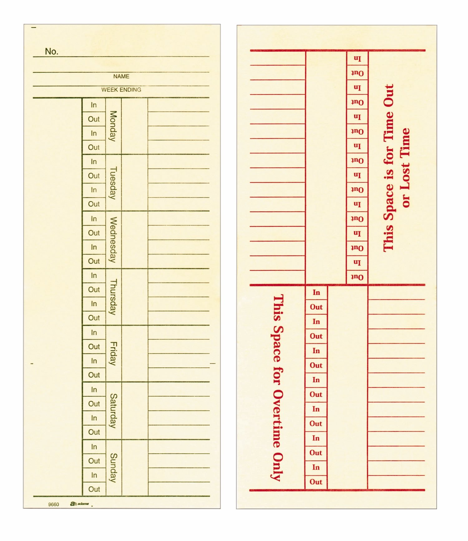 Adams Time Cards, Weekly, 2-Sided, Overtime Format, 3-3/8'' x 8-1/4'', Manila, Green/Red Print, 200-Count (9660-200)