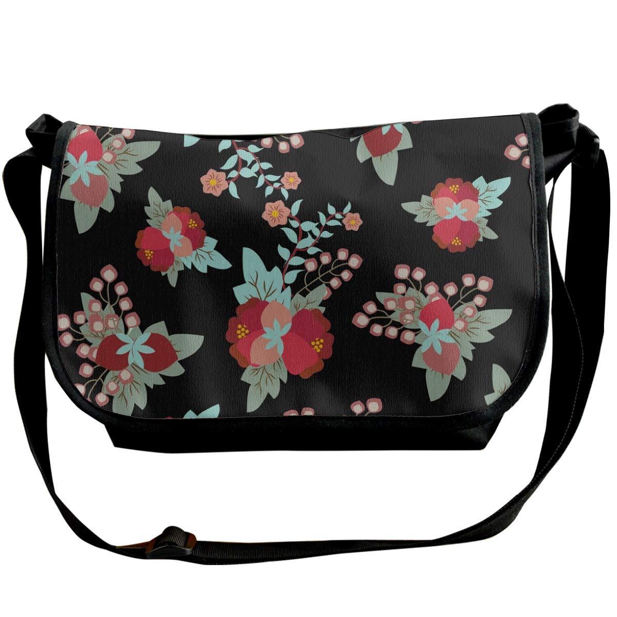 Taslilye Floral Vintage Pattern Romantic Vector Image Personalized Wide Crossbody Shoulder Bag For Men And Women For Daily Work Or Travel