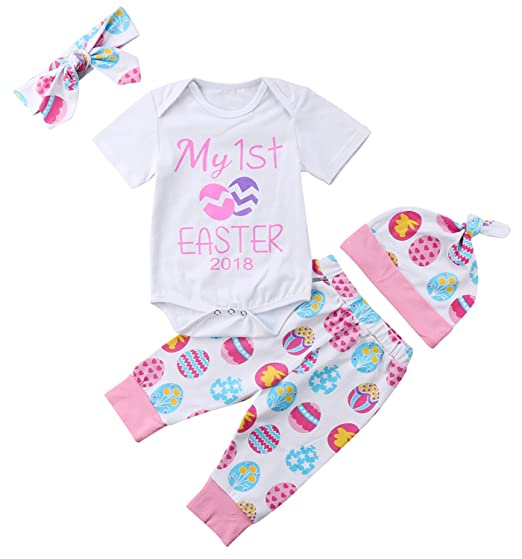 cd74ea83db0b 4PCs Sets Baby Girls My 1st Easter Eggs Short Sleeves Bodysuit Romper Pants  Clothing Set (