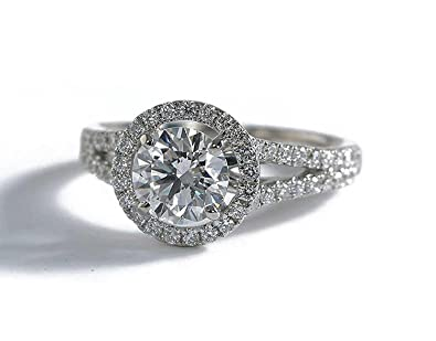 Amazoncom 14k White Gold Round Halo Vintage Simulated Diamond