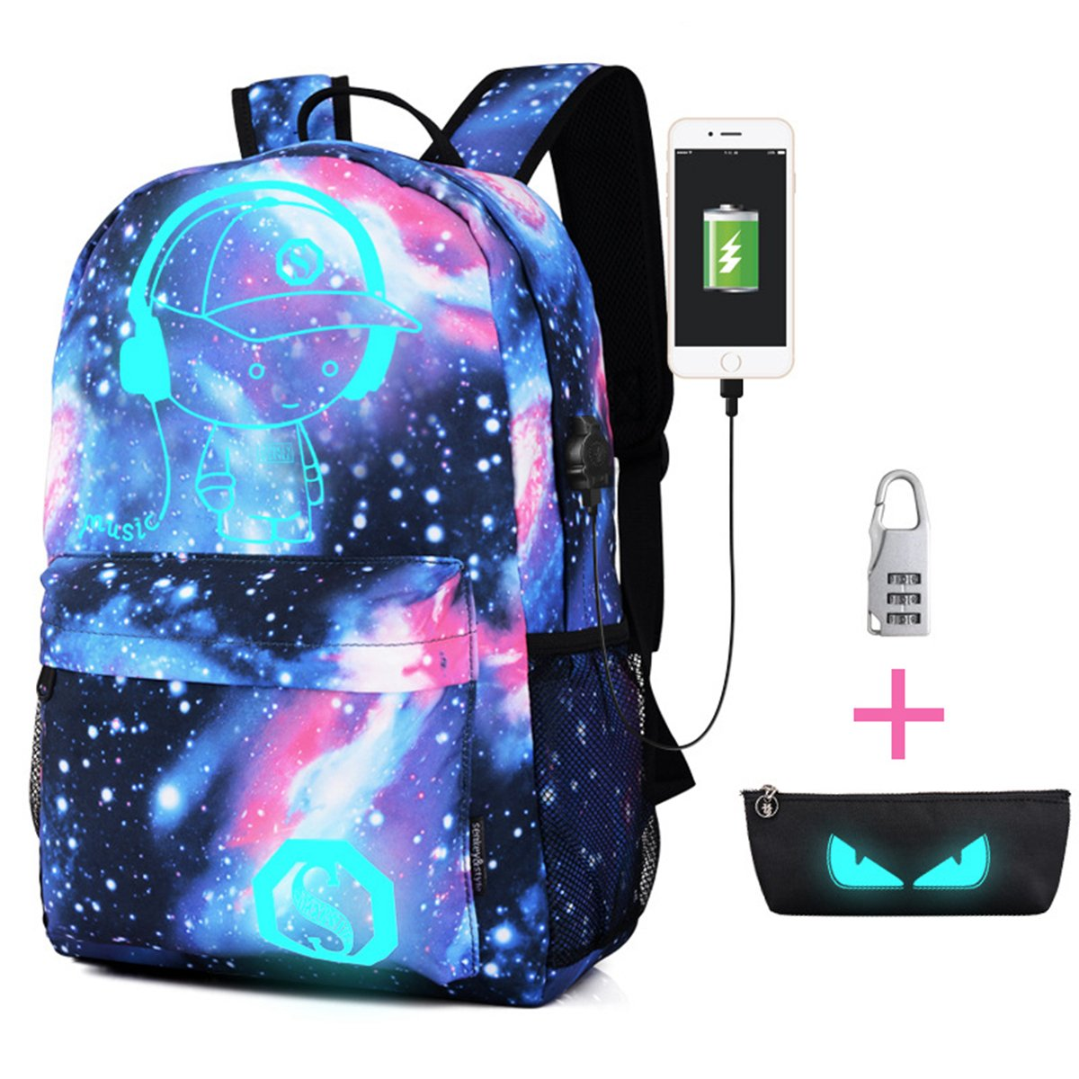 8b341204c999 Amazon.com  FUNOC Student Backpack with USB Charger School Casual Canvas  Galaxy Blue Bag 15L  Clothing