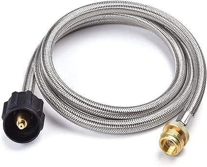 5FT Braide Propane Hose Connects 1lb Portable Appliances to 5-40 lb Propane Tank