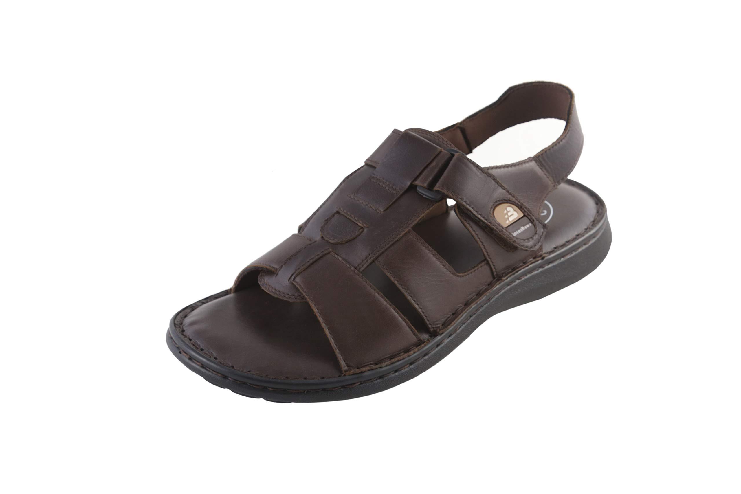LOTUS BAWA Men's Fisherman Sandals Genuine Leather Breathable Open Toe Non-Slip Adjustable Summer Beach Wear Slippers-Brown
