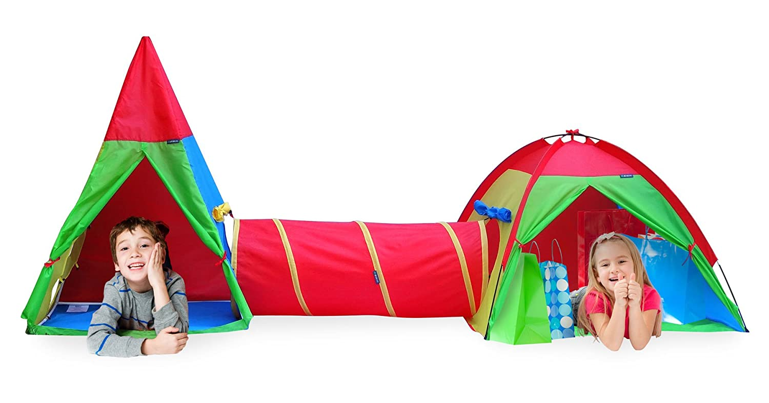 Giga Tent Action Dome and Teepee with Tunnel Play Tent Set by GigaTent B00ELA8ATS